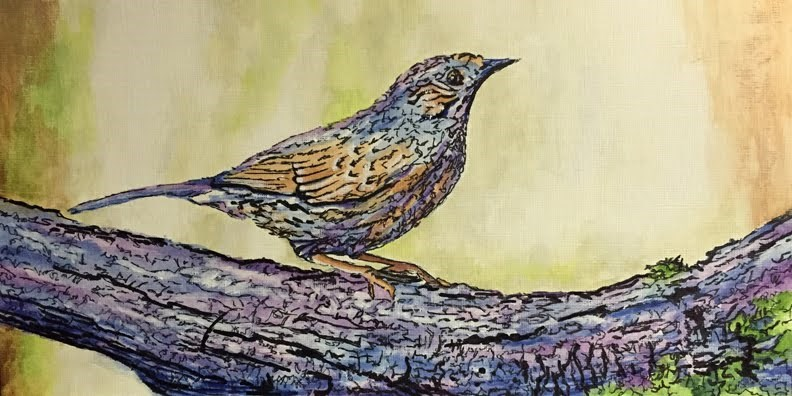 """Bird on a Branch"" original fine art by Nan Johnson"