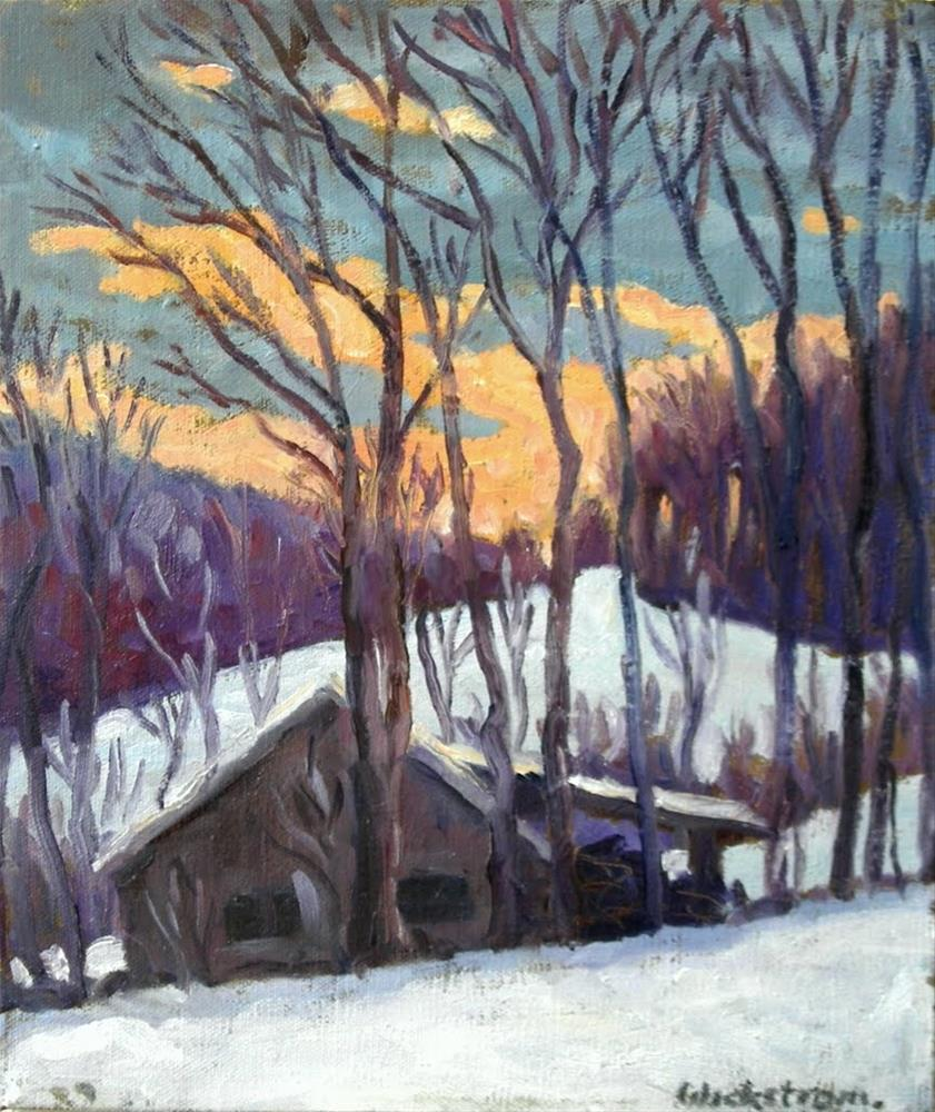 """Snowy Sunset, Berkshires"" original fine art by Thor Wickstrom"