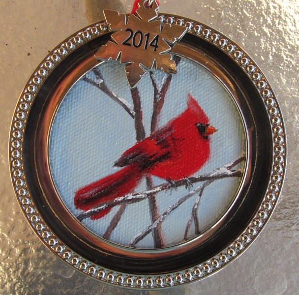 """2014 Cardinal Ornament"" original fine art by Ruth Stewart"