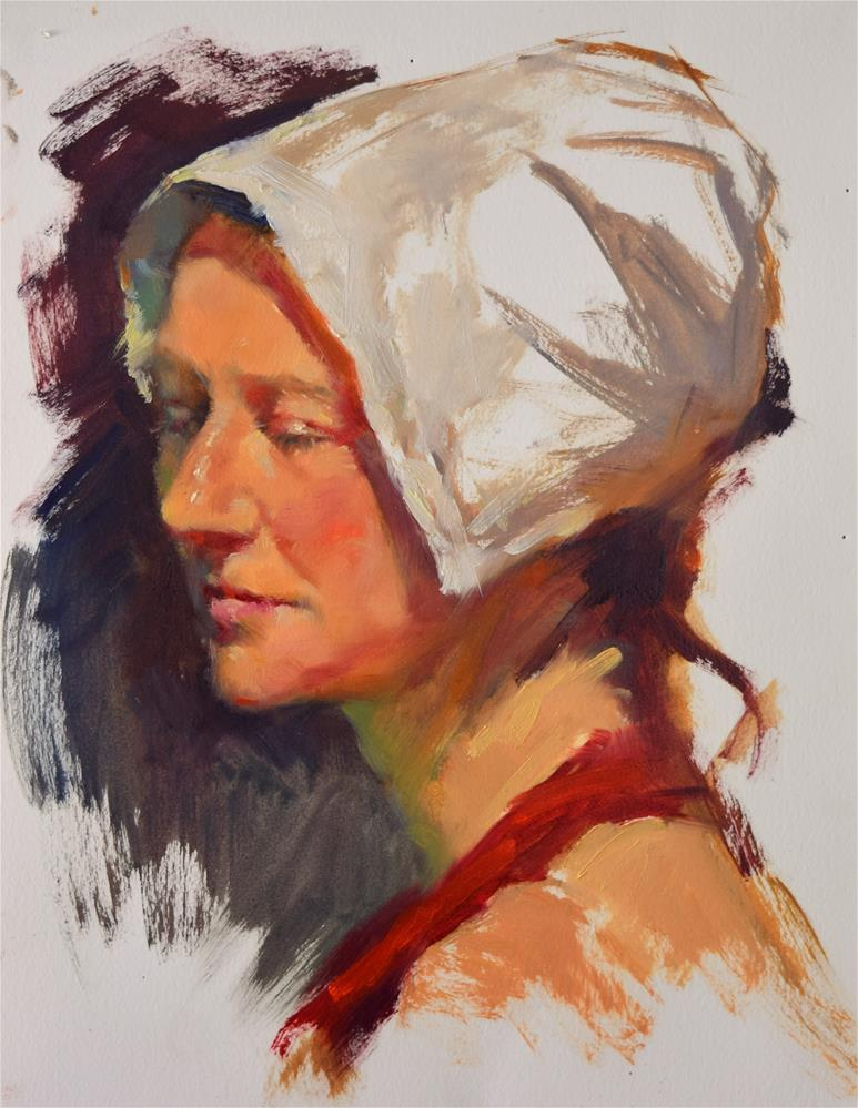 """Lady in a 1800's Hat "" original fine art by Sabrina Zhou"