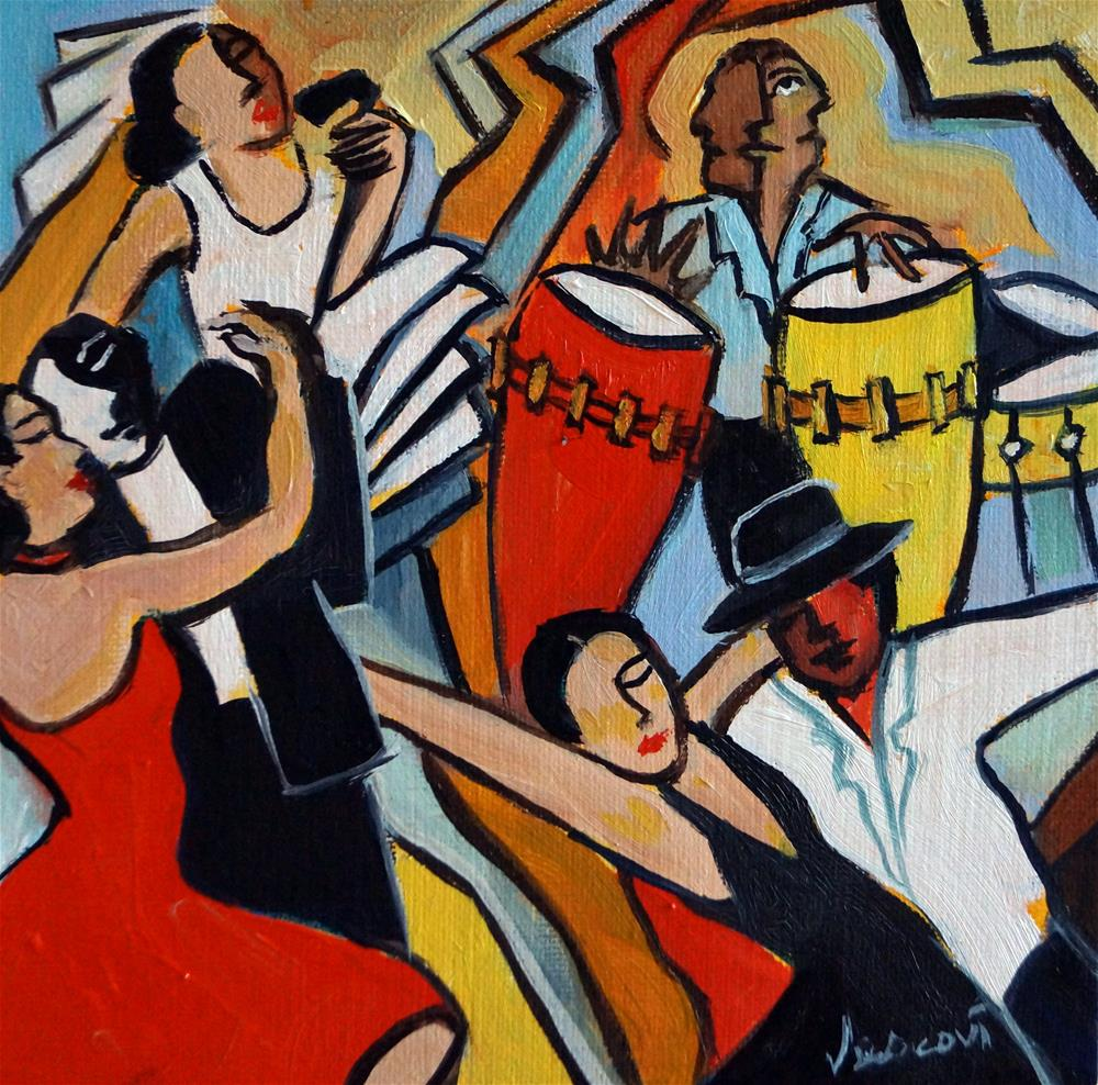 """Latino Jazz 8x8"" original fine art by Valerie Vescovi"