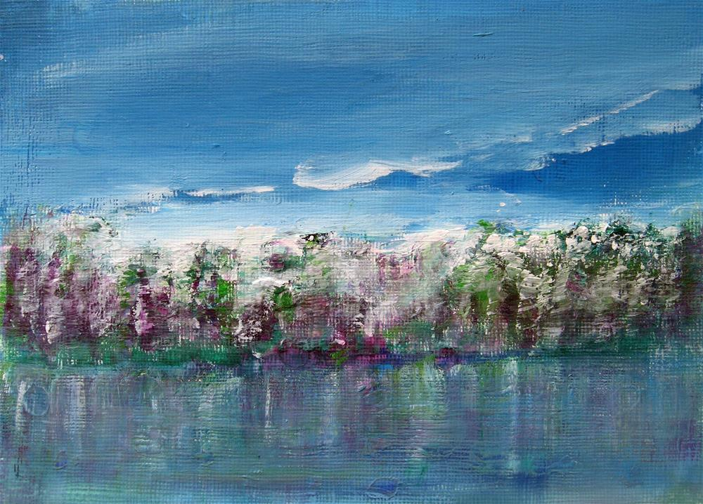 """Purple Spring Abstract Landscape"" original fine art by Alina Frent"
