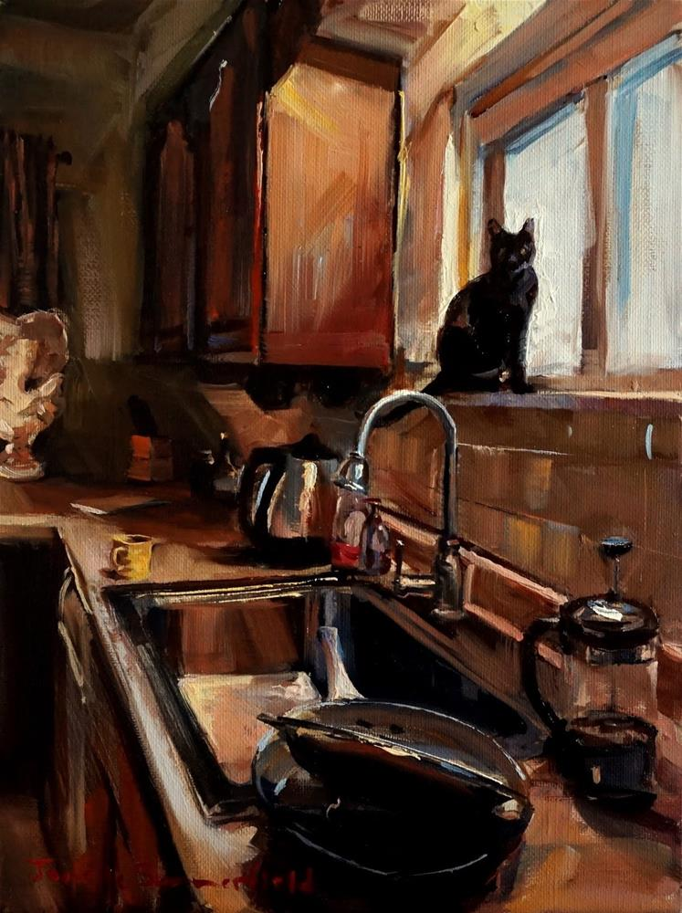 """The Kitchen Supervisor"" original fine art by Jonelle Summerfield"