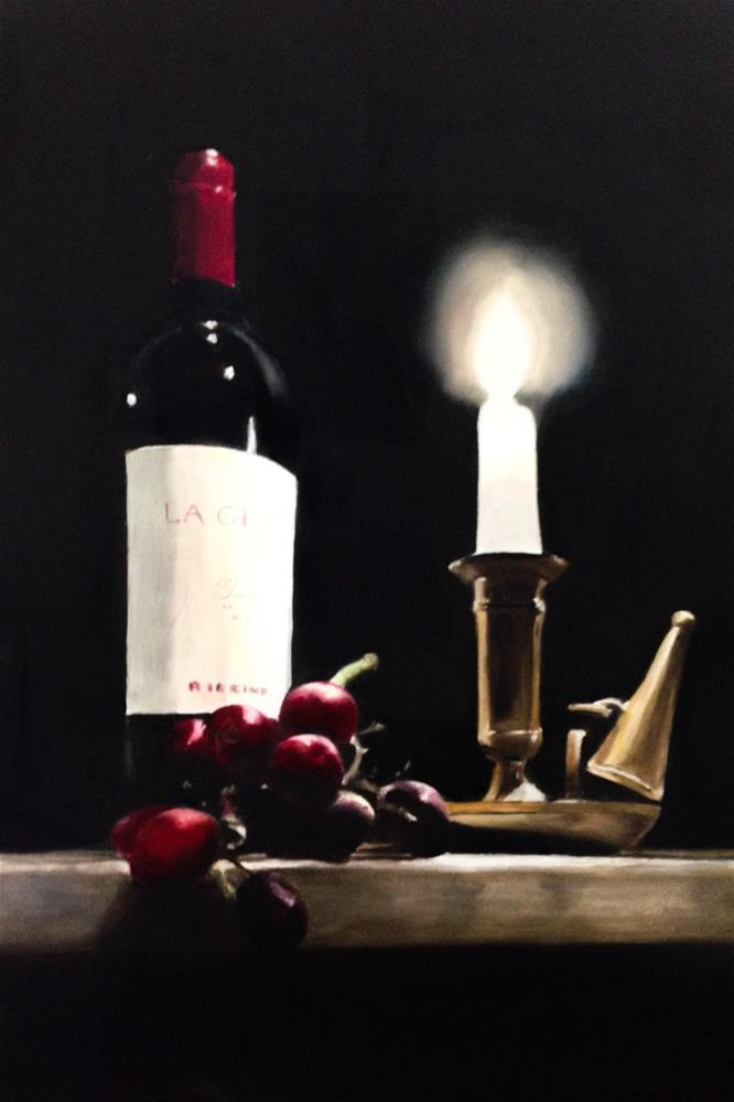 """Wine Grapes and Candle"" original fine art by James Coates"