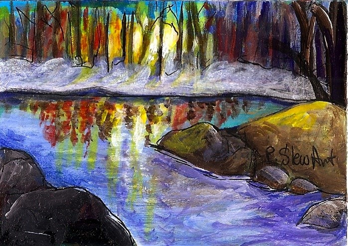 """ACEO Landscape River at Sunset/Sunrise Stream Rocks Trees Colorful Contemporary"" original fine art by Penny Lee StewArt"