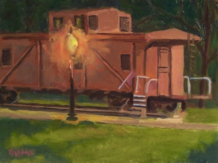 """Caboose en Plein air"" original fine art by Daniel Fishback"