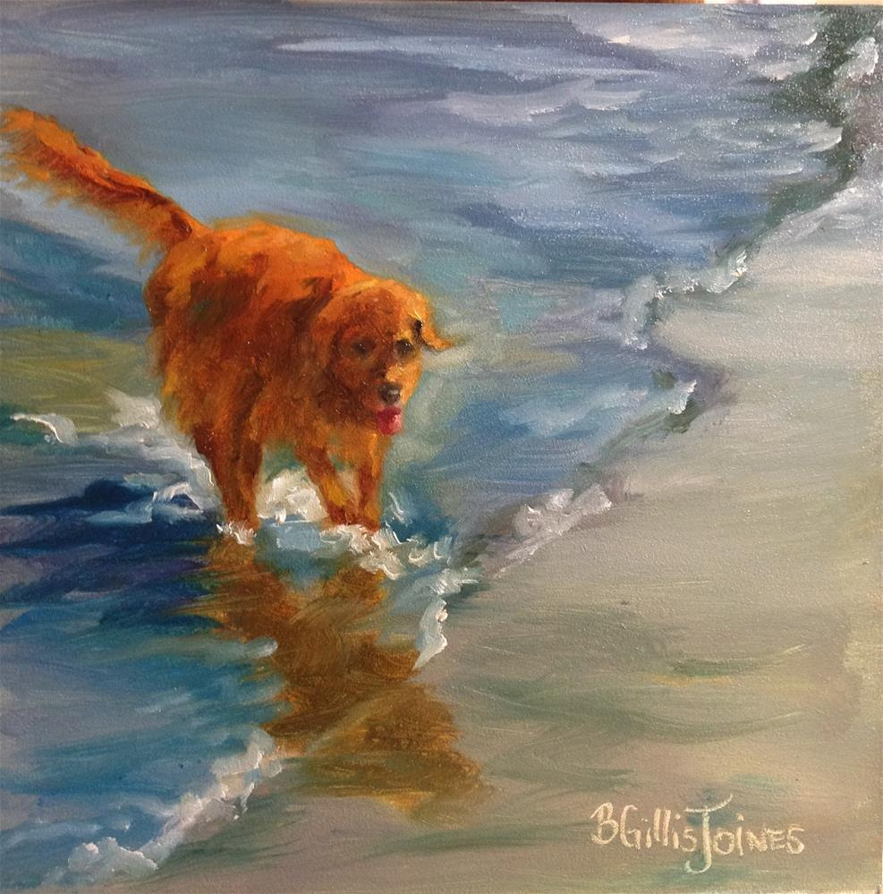 """Retriever Romp"" original fine art by Barbara Gillis Joines"