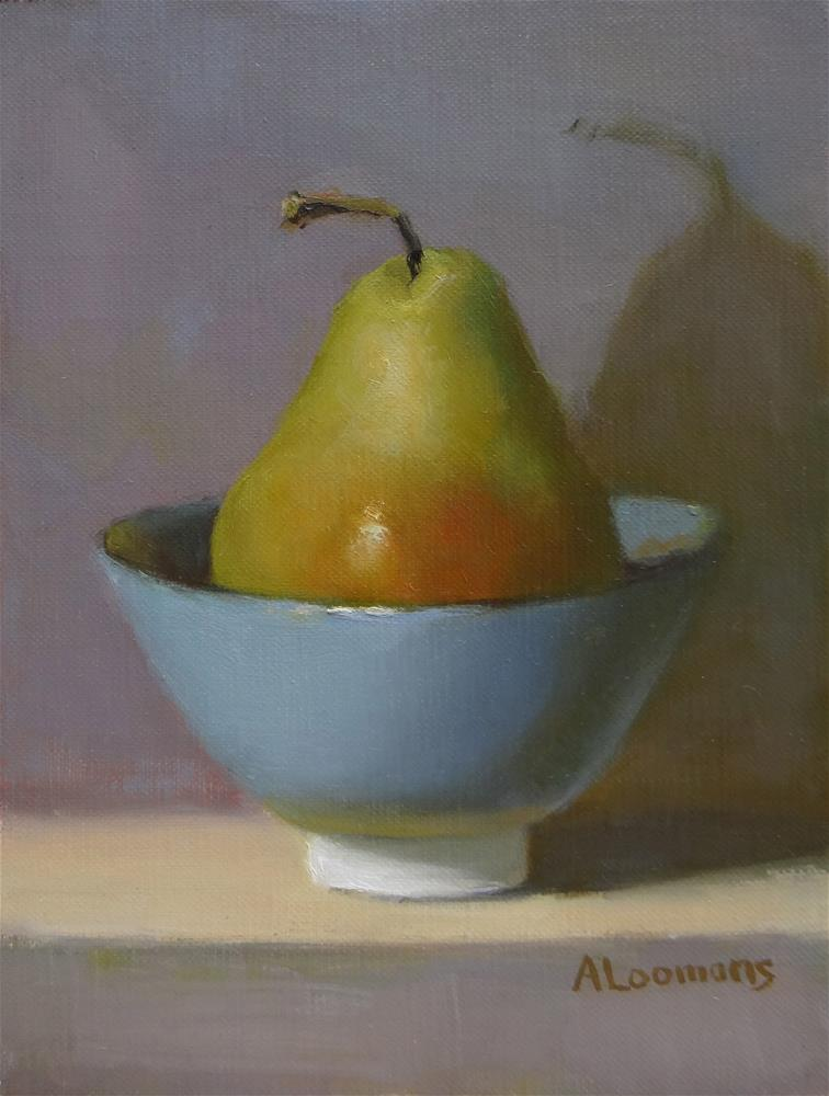 """Pear In A Blue Bowl"" original fine art by Adele Loomans"