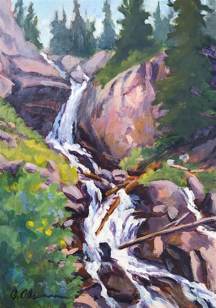 """""""Mertensia Falls"""" original fine art by Gary Alsum"""