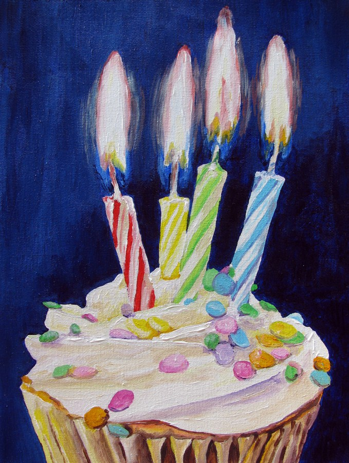 """Cupcake with 4 Candles"" original fine art by Nan Johnson"