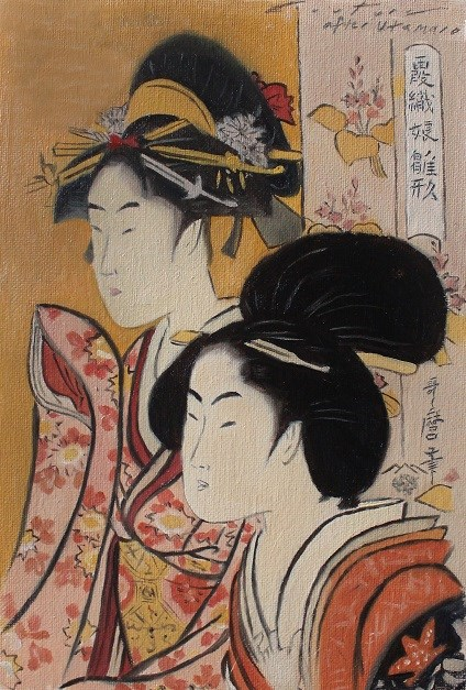 """After Utamaro - Two Beauties"" original fine art by Phil Couture"
