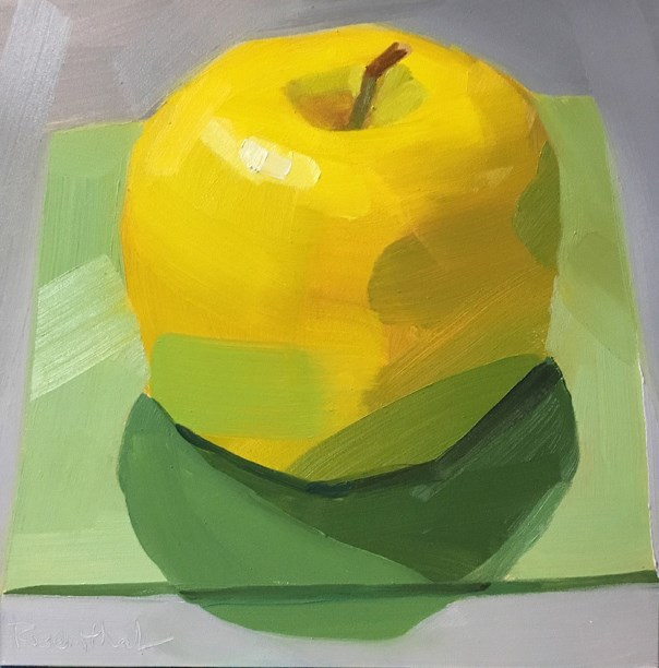 """""""Yellow Apple on Pale Green Square"""" original fine art by Robin Rosenthal"""