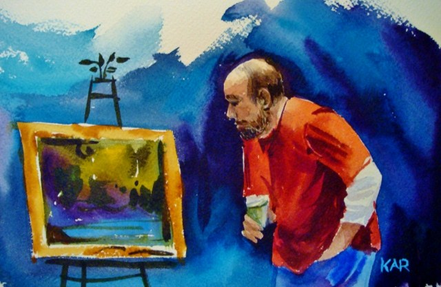 """Richard...Checking it Out"" original fine art by Kathy Los-Rathburn"
