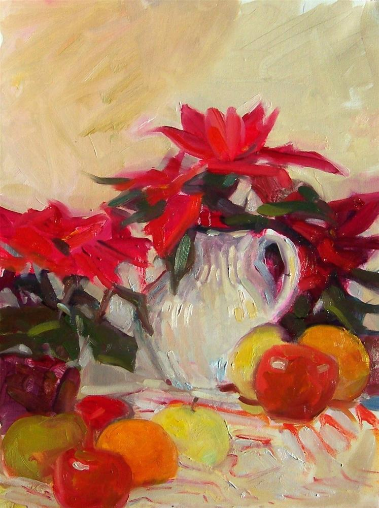 """Christmas Bounty,still life,oil on canvas,17x14,price$100"" original fine art by Joy Olney"
