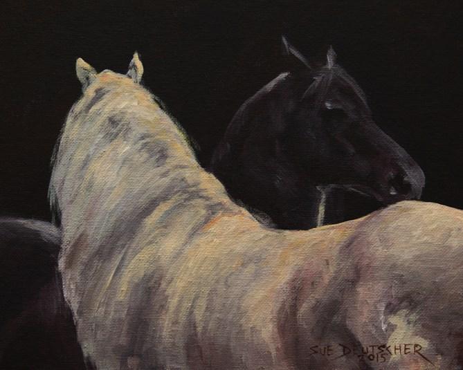 """""""Two Horses"""" original fine art by Sue Deutscher"""