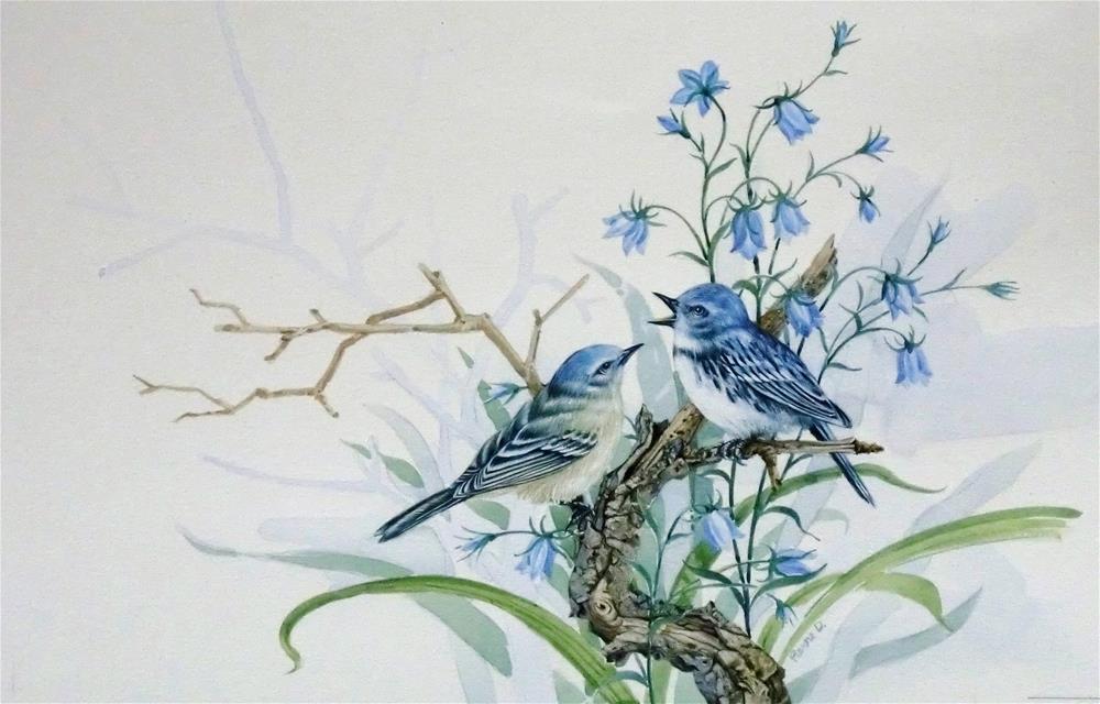 """Cerulean Warblers"" original fine art by Jean Pierre DeBernay"