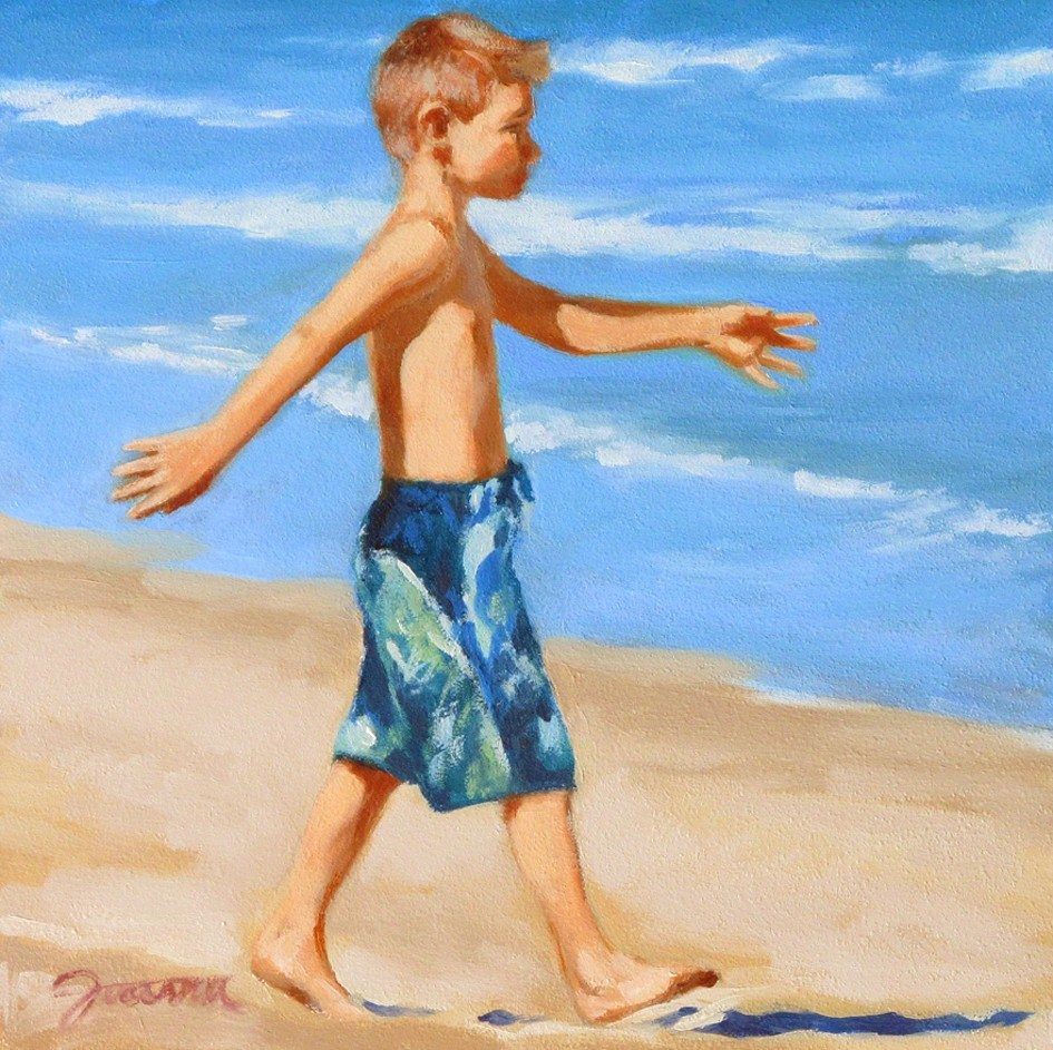 """On The Mission--Series Painting of Children On the Beach"" original fine art by Joanna Bingham"