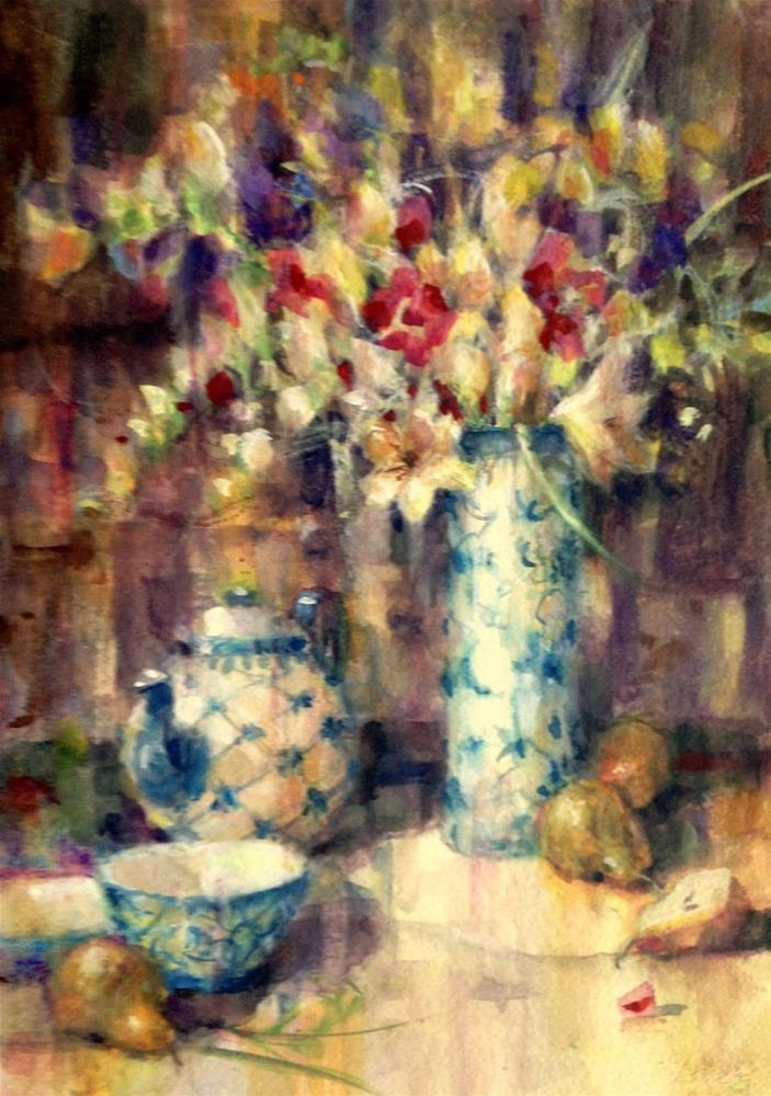"""Blue and White Porcelain - Watercolor"" original fine art by Julie Ford Oliver"
