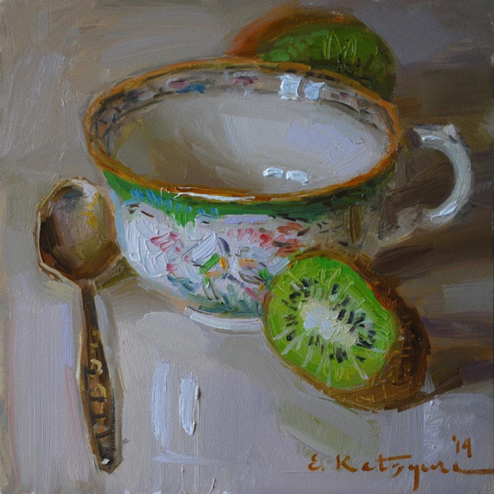 """Cup and Kiwi"" original fine art by Elena Katsyura"