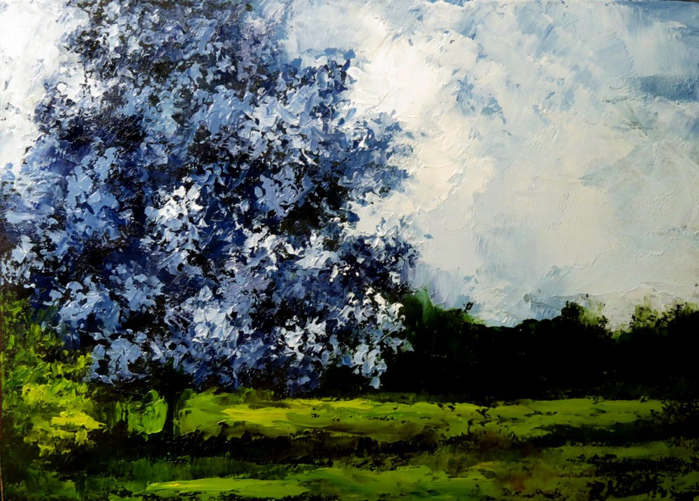 """The Blue Tree"" original fine art by Bob Kimball"