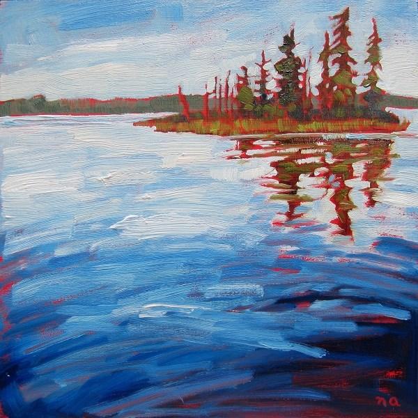 """Island - Third Heart Lake"" original fine art by Nicki Ault"