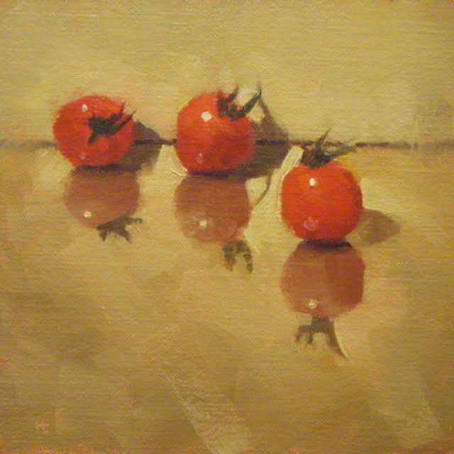 """TOMATOES 123"" original fine art by Helen Cooper"