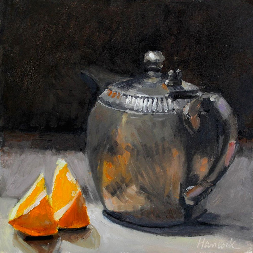 """Orange Slices and Pewter Teapot"" original fine art by Gretchen Hancock"