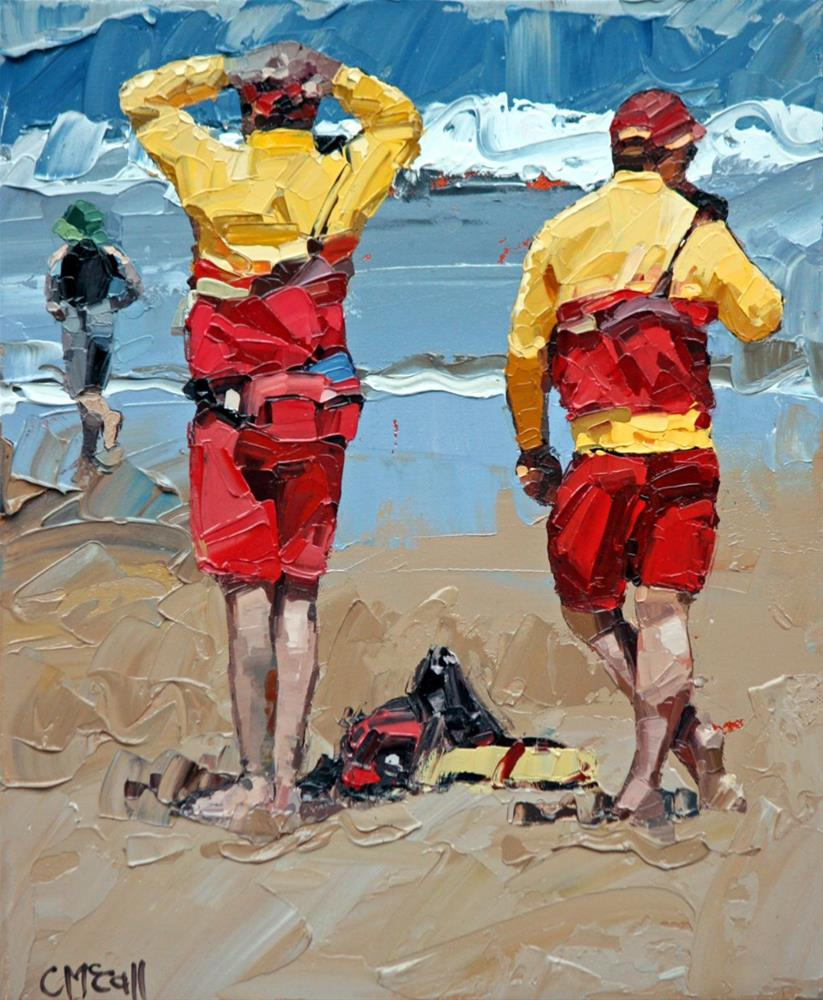 """Two Lifeguards"" original fine art by Claire McCall"