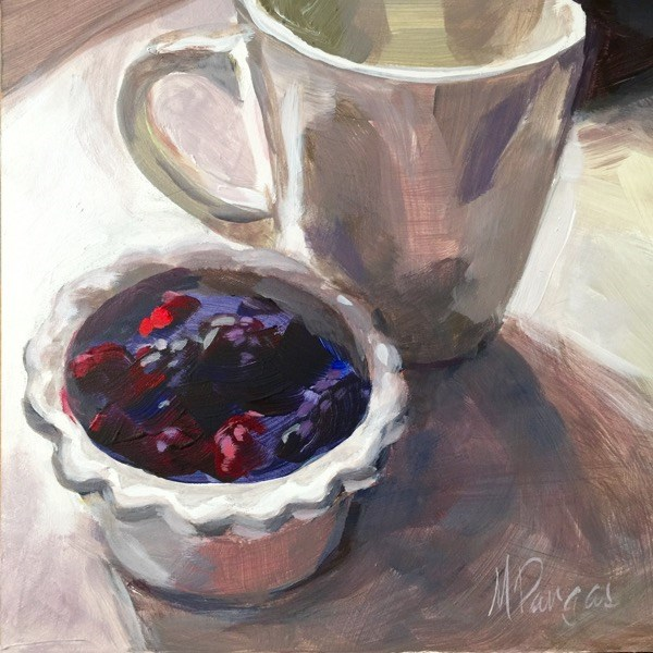 """""""Tea and Berries"""" original fine art by Mary Pargas"""