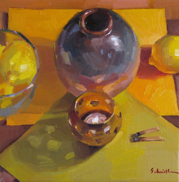 """Two Matches still life candle flame fire lemons daily painting oil on canvas"" original fine art by Sarah Sedwick"