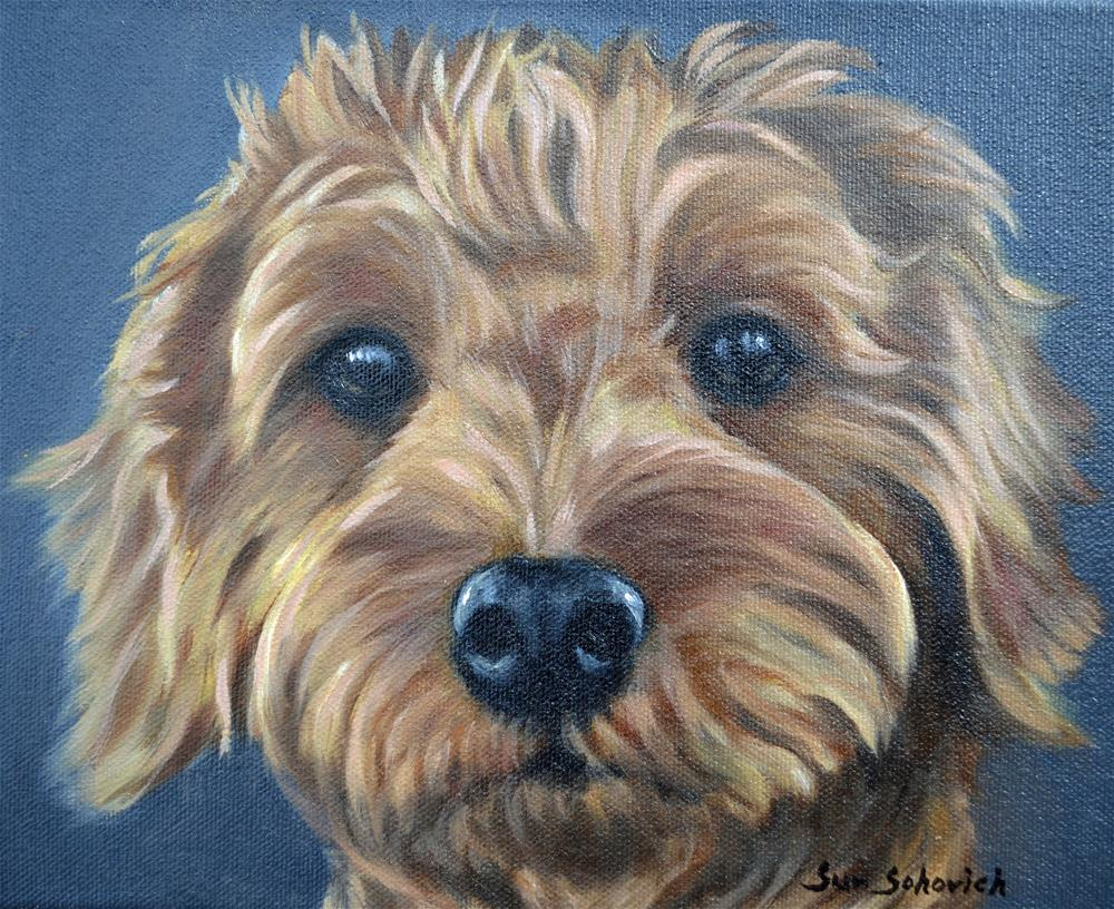 """""""goldendoodle, dog painting"""" original fine art by Sun Sohovich"""