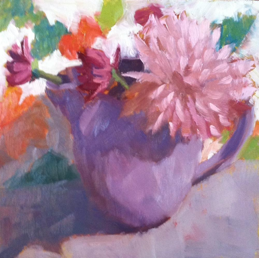"""Pink Flowers/Lavender Teapot"" original fine art by Katharine March"