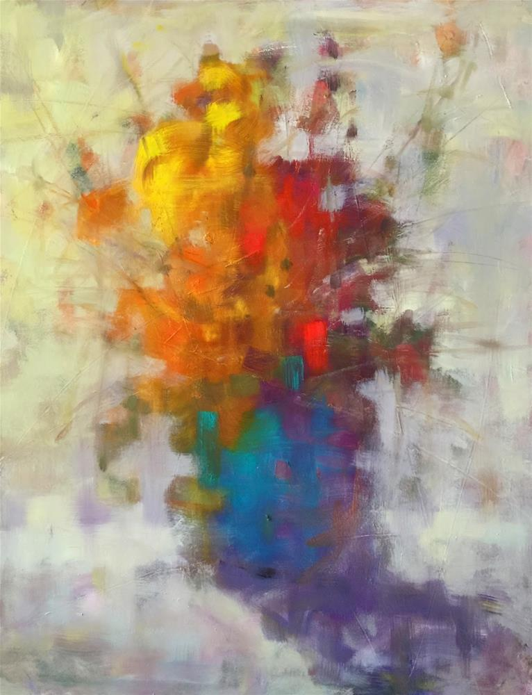 """Abstracted Flowers, 16x20"" original fine art by Ann Feldman"
