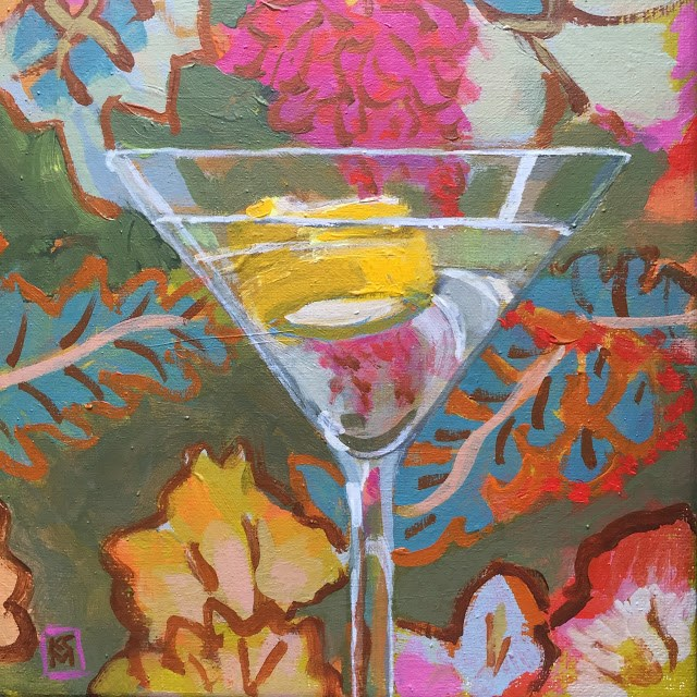 """Wild And Crazy Martini, 8x8 Inch Acrylic Painting by Kelley MacDonald"" original fine art by Kelley MacDonald"