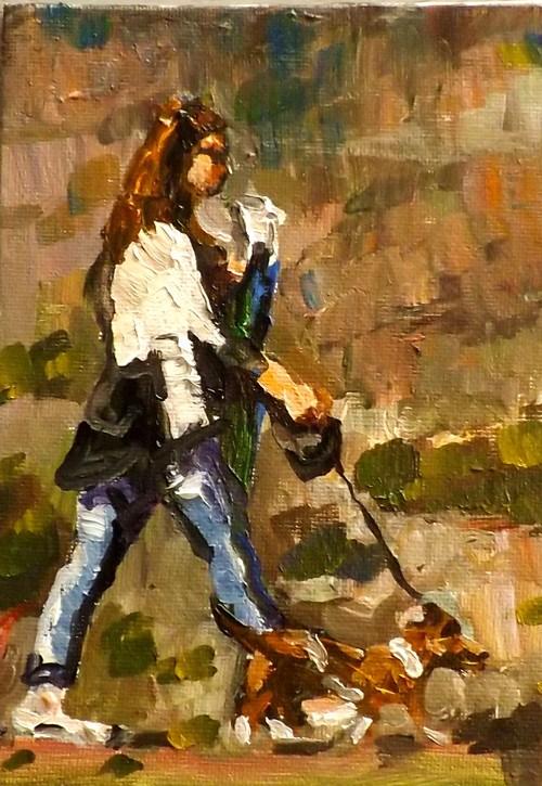 """""""A lady and a dog"""" original fine art by Run-      Zhang Zane"""