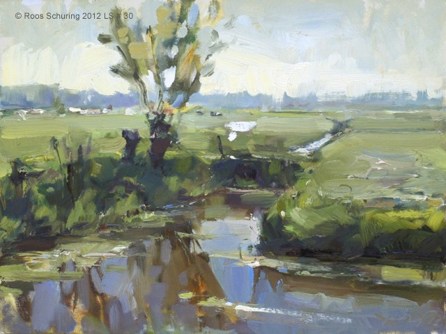 """Landscape spring #30 Same place different light - Willows water meadow (Weiland en wilgen)"" original fine art by Roos Schuring"