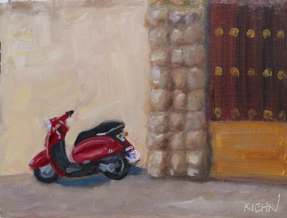 """Red Scooter"" original fine art by Richard Kiehn"