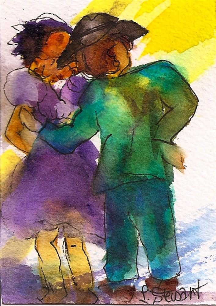 """""""ACEO Waiting in the Wings Dance Couple"""" original fine art by Penny Lee StewArt"""
