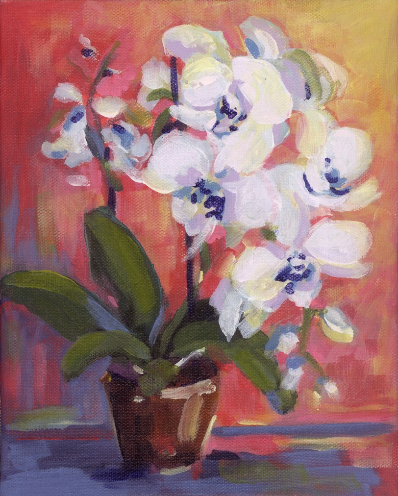 """Little White Orchid"" original fine art by Pamela Gatens"