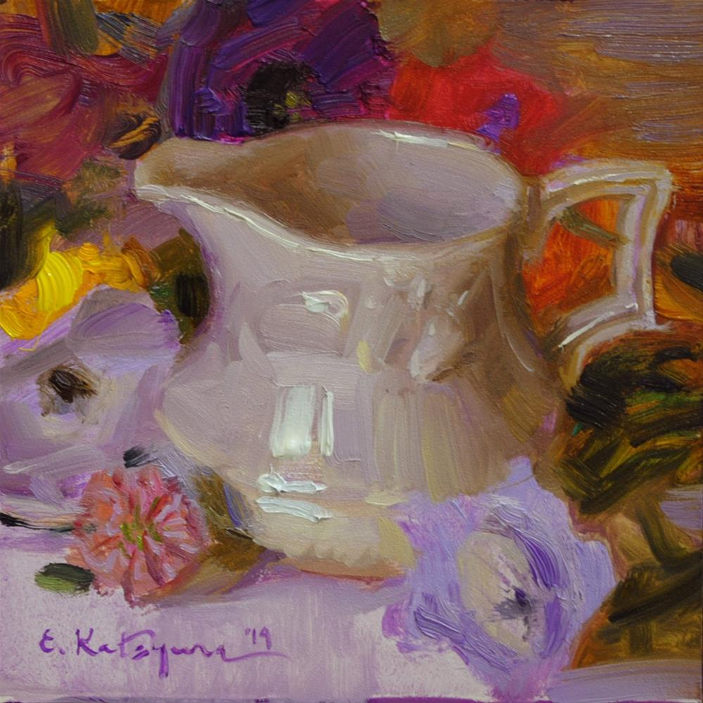 """Creamer and Garden Flowers"" original fine art by Elena Katsyura"