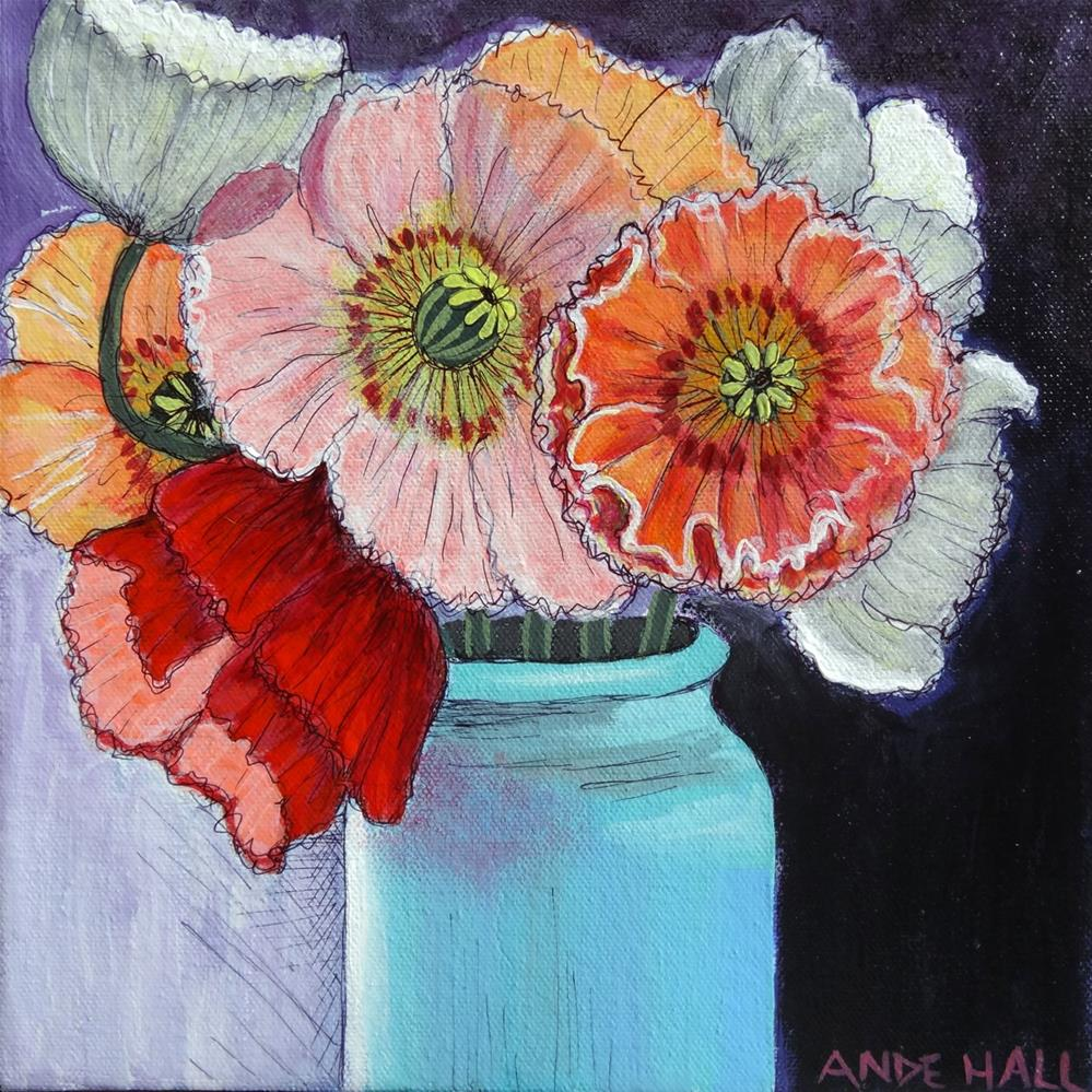 """Poppies in Aqua Vase"" original fine art by Ande Hall"