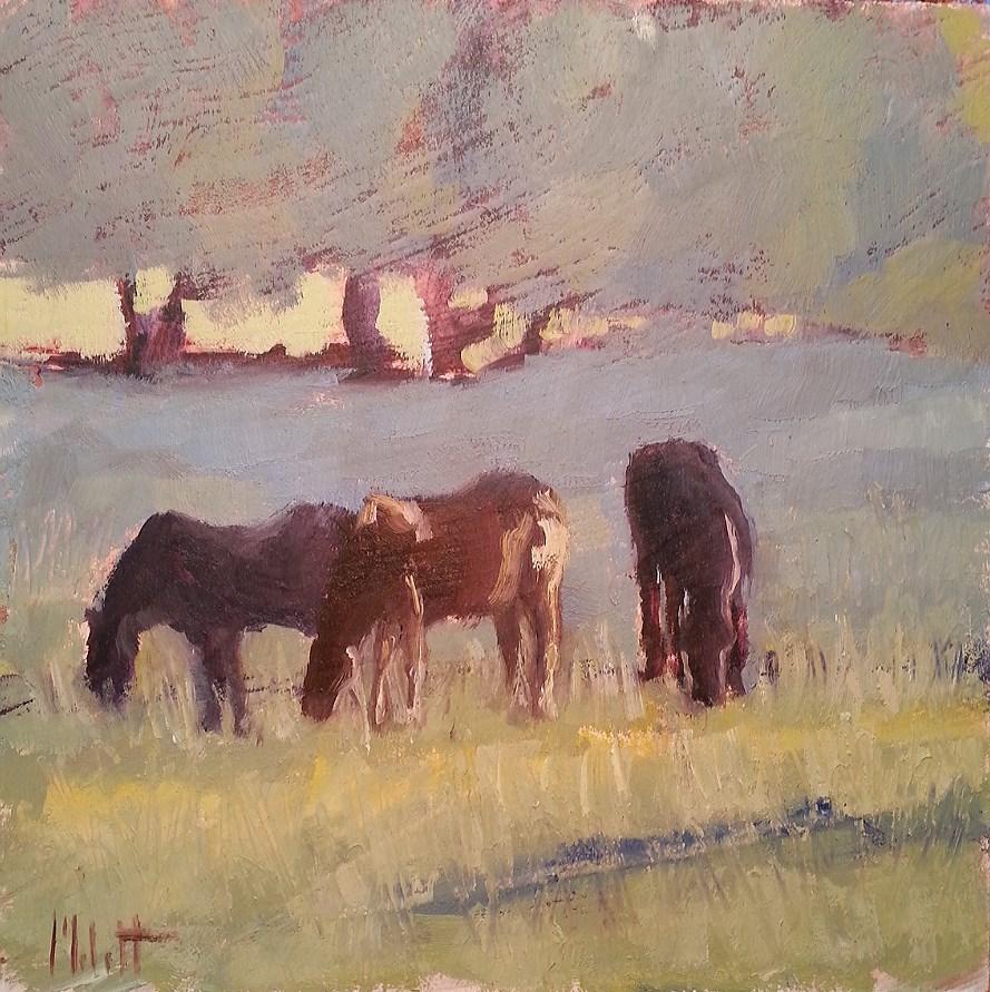 """Horses Morning Graze Original Oil Painting"" original fine art by Heidi Malott"
