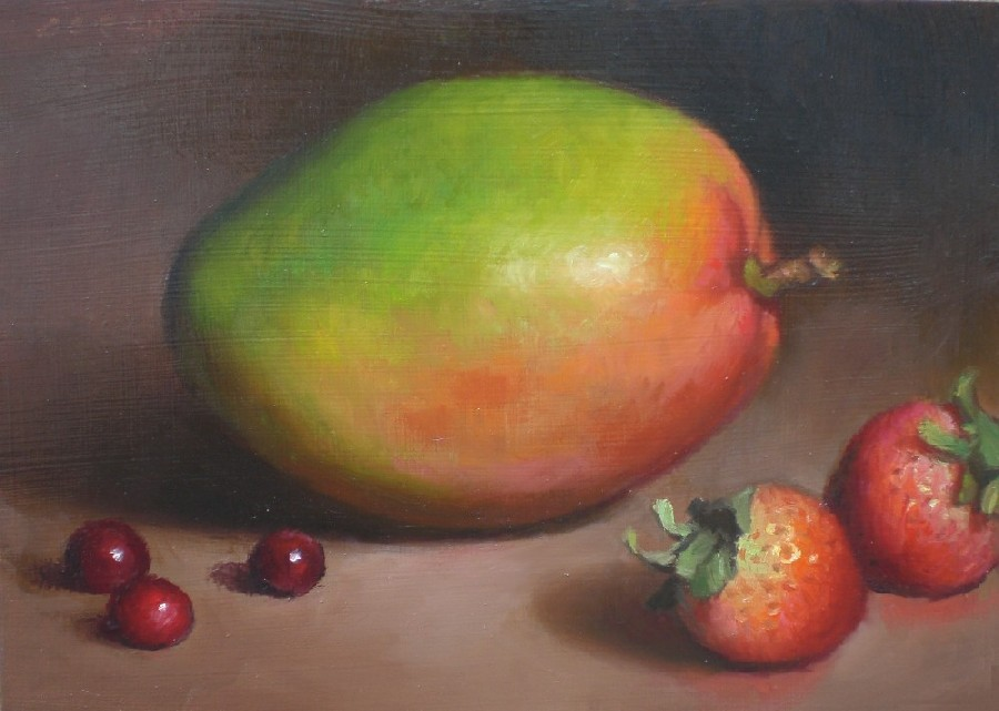 """Mango and Strawberries"" original fine art by Debra Becks Cooper"