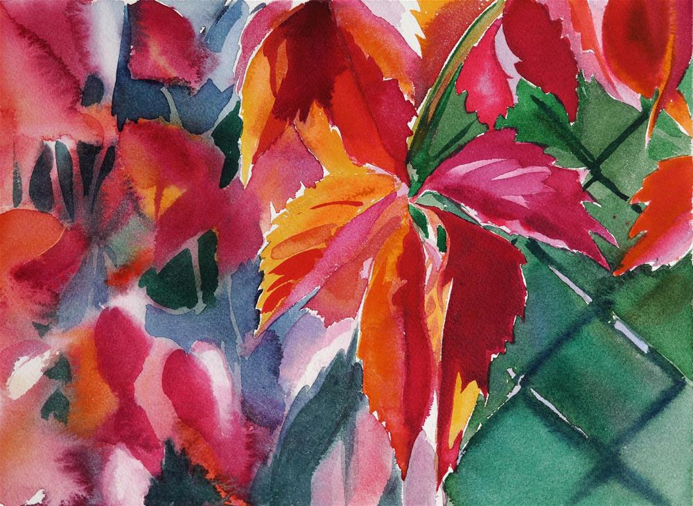 """red leafs"" original fine art by Beata Musial-Tomaszewska"