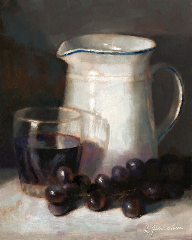 """Pitcher and Grapes"" original fine art by Linda Jacobus"