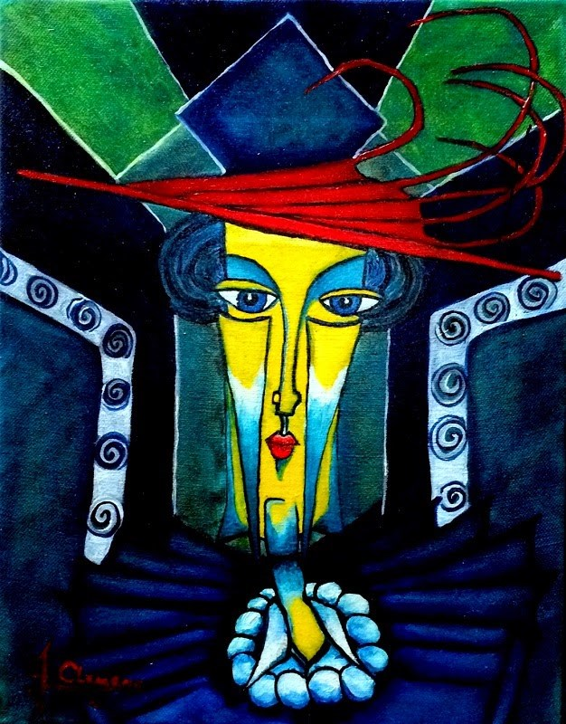"""Red hat lady"" original fine art by Jolynn Clemens"