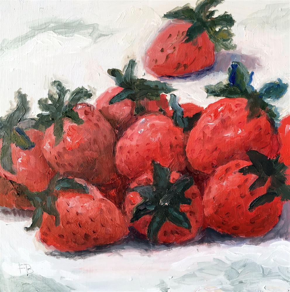 """053 Strawberries. Daily Painting Ritual, 6x6, free shipping"" original fine art by Fred Bell"