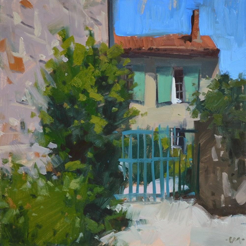 """Green Shutters, Blue Gate"" original fine art by Carol Marine"