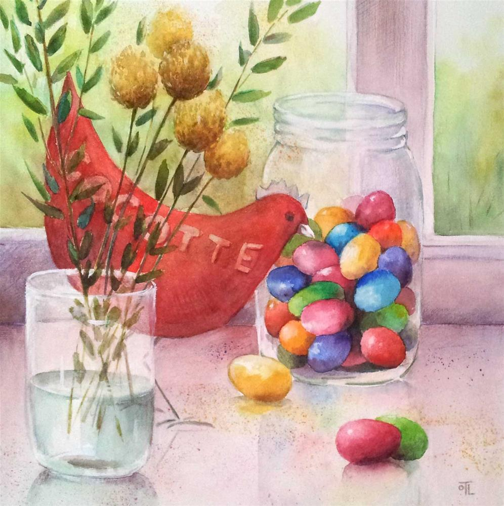 """DCS # 16 Cocotte or The Easter egg challenge"" original fine art by Olga Touboltseva-Lefort"