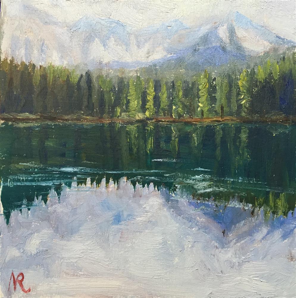 """A mountain lake"" original fine art by Natasha Ramras"